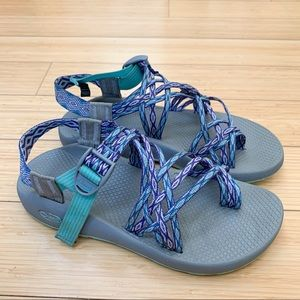 CHACO ZX/3 gray and purple sandals, women's 9.